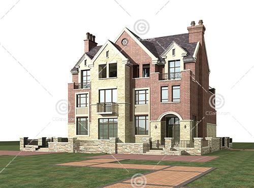 带围墙的现代别墅3D模型下载