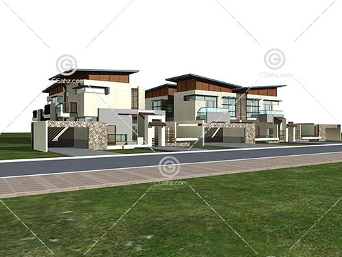 带有围墙的现代别墅3D模型下载