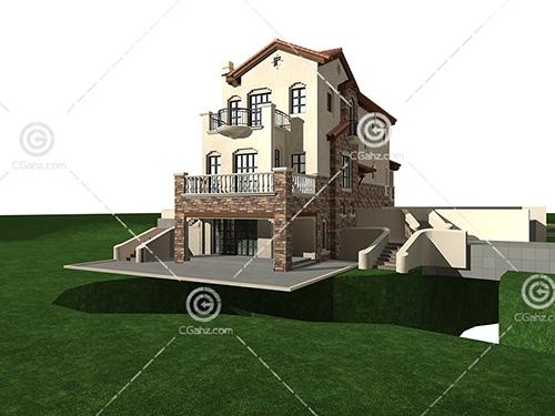 带有台阶的欧式别墅3D模型下载