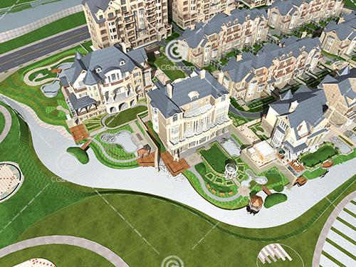 欧式别墅区3D模型下载