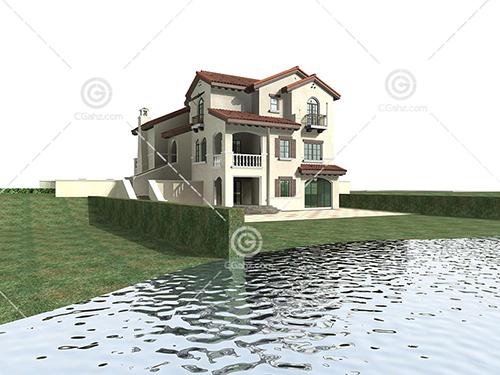 河边的独栋别墅3D模型下载