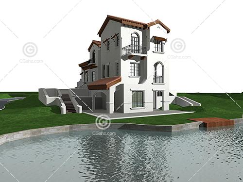 湖边的别墅3D模型下载