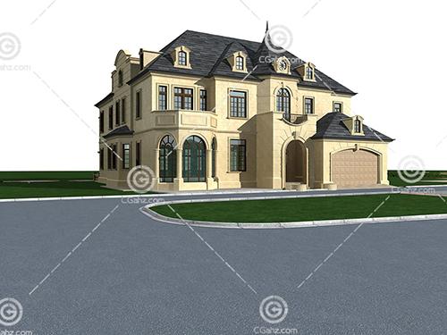 欧式双层别墅3D模型下载