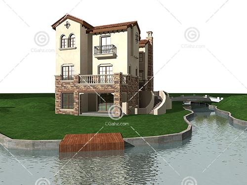 带有小河的别墅3D模型下载