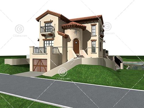 带有地下车库的别墅3D模型下载