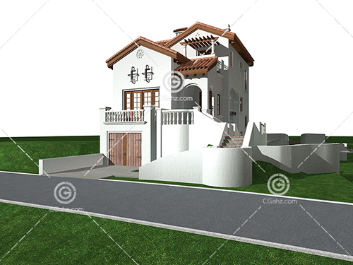 带有罗马柱的别墅3D模型下载