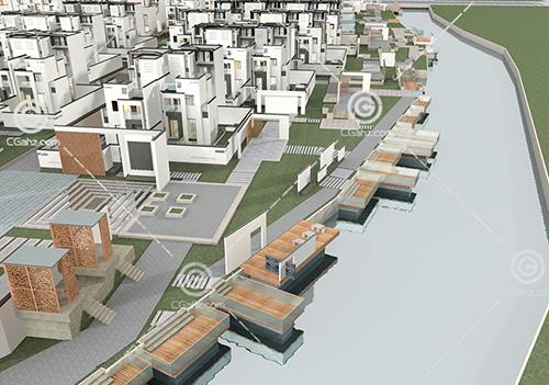 现代别墅区3D模型下载