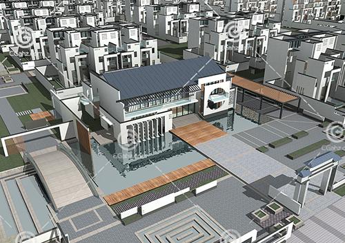 现代简洁的别墅区3D模型下载
