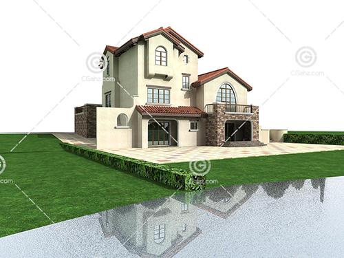 河边的别墅3D模型下载