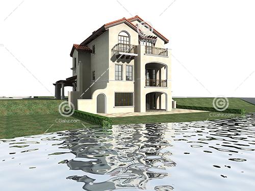 河边的别墅模型下载