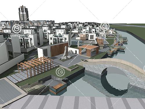 河边的别墅群3D模型下载