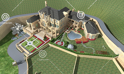 私人豪华别墅庄园3D模型下载