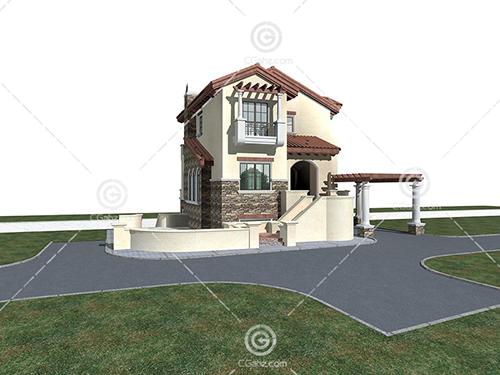 带有廊架的独栋别墅3D模型下载