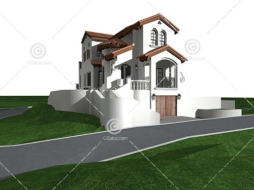 欧式三层别墅3D模型下载