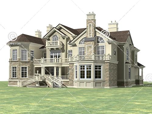 豪华的欧式别墅3D模型下载