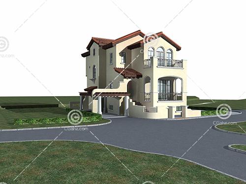 带有地下室的独栋别墅3D模型下载