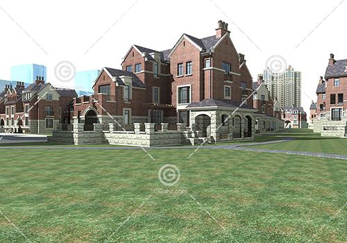 带有围墙的别墅群3D模型下载