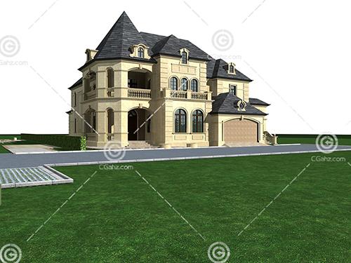 带有台阶的欧式别墅模型下载