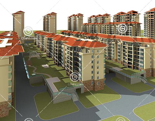 多层住宅小区模型下载