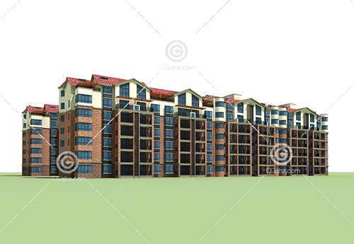 连排多层住宅3D模型下载
