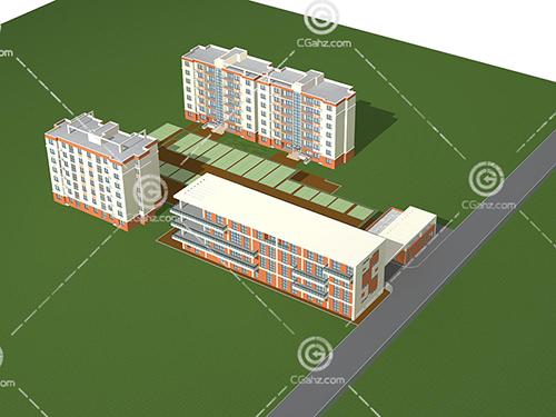 简单的多层住宅3D模型下载
