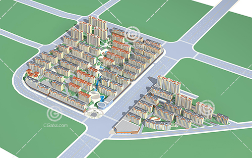 小区模式的多层建筑3D模型下载