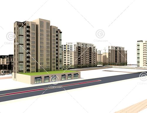多层住宅小区3D模型下载