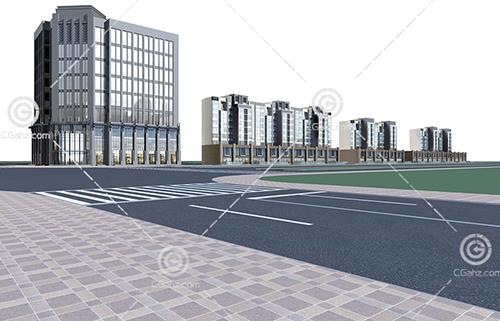 商业街多层住宅3D模型下载