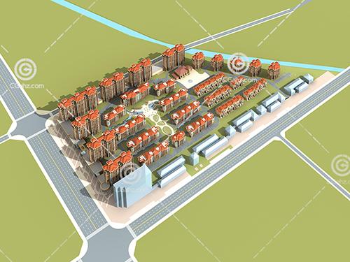 简单的小区多层建筑3D模型下载