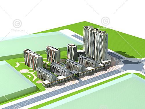 高层多层建筑组合3D模型下载