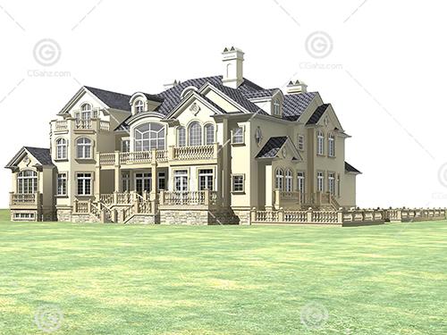 豪华的独栋别墅3D模型下载
