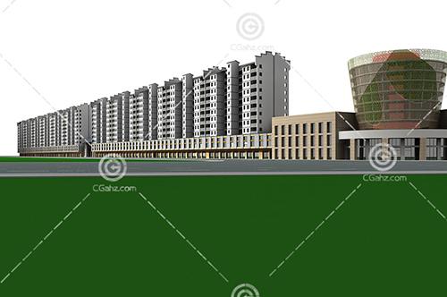 简单的多层住宅建筑3D模型下载