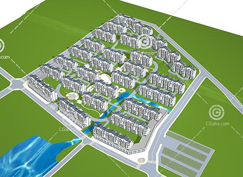 多层排屋群3D模型下载