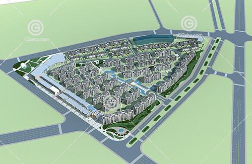 多层建筑住宅小区3D模型下载