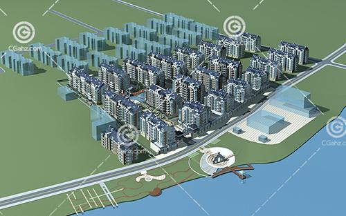 多层住宅区3D模型下载