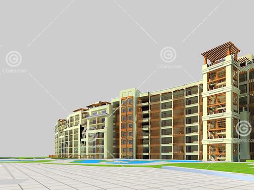 弧形多层住宅3D模型下载