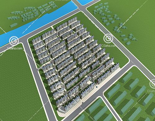 密集的多层住宅区3D模型下载