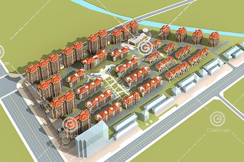多层住宅小区建筑3D模型下载