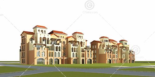 欧式多层建筑3D模型下载