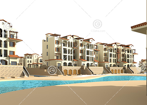河边的多层住宅3D模型下载