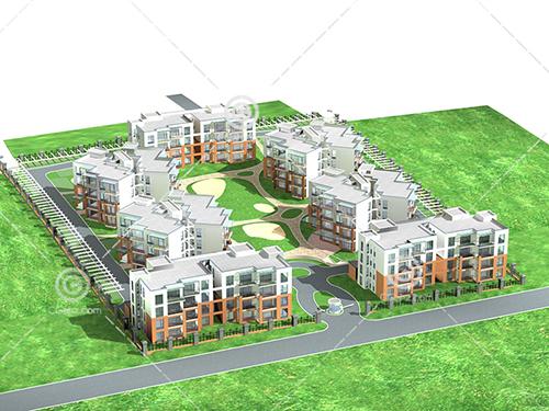 多层住宅区模型下载