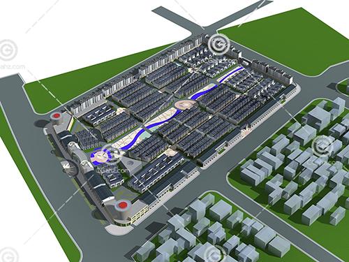 多层住宅建筑群3D模型下载
