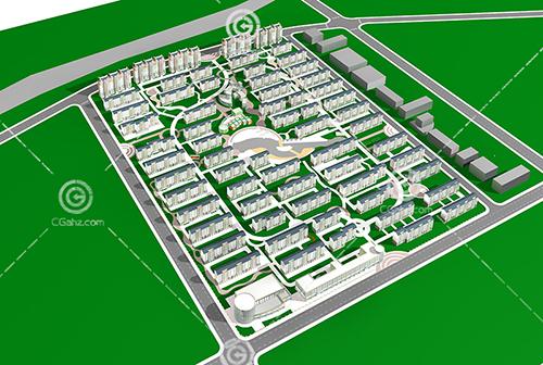 小区多层住宅建筑小区3D模型下载