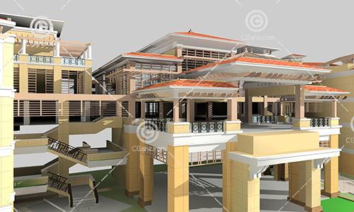 互通式多层建筑3D模型下载