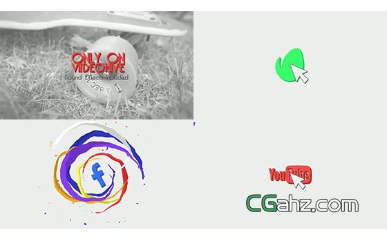 扁平化流体图形动画标志揭示开场AE模板
