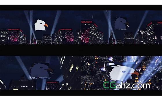 大气的城市聚光灯标志演绎开场AE模板