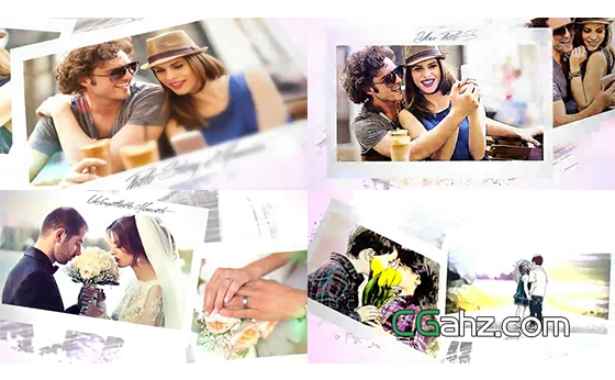 绘画素描出浪漫的爱情故事相册AE模板