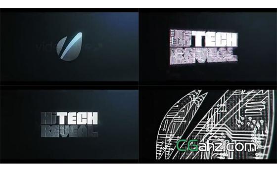高科技芯片标志的快速演绎开场AE模板