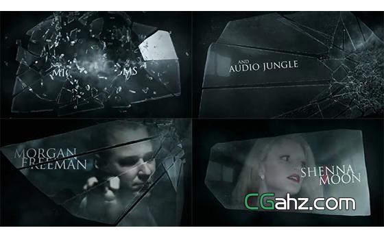 黑暗气势玻璃粉碎特效内容展示AE模板