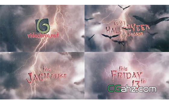 蝙蝠群飞过暴风雨和鲜血字幕的恐怖电影宣传片AE模板